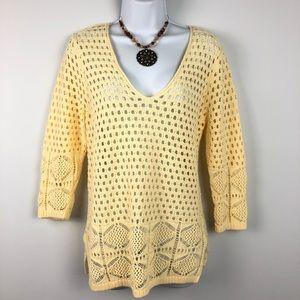 JEANNE PIERRE Yellow VNeck Crochet Knit Sweater M